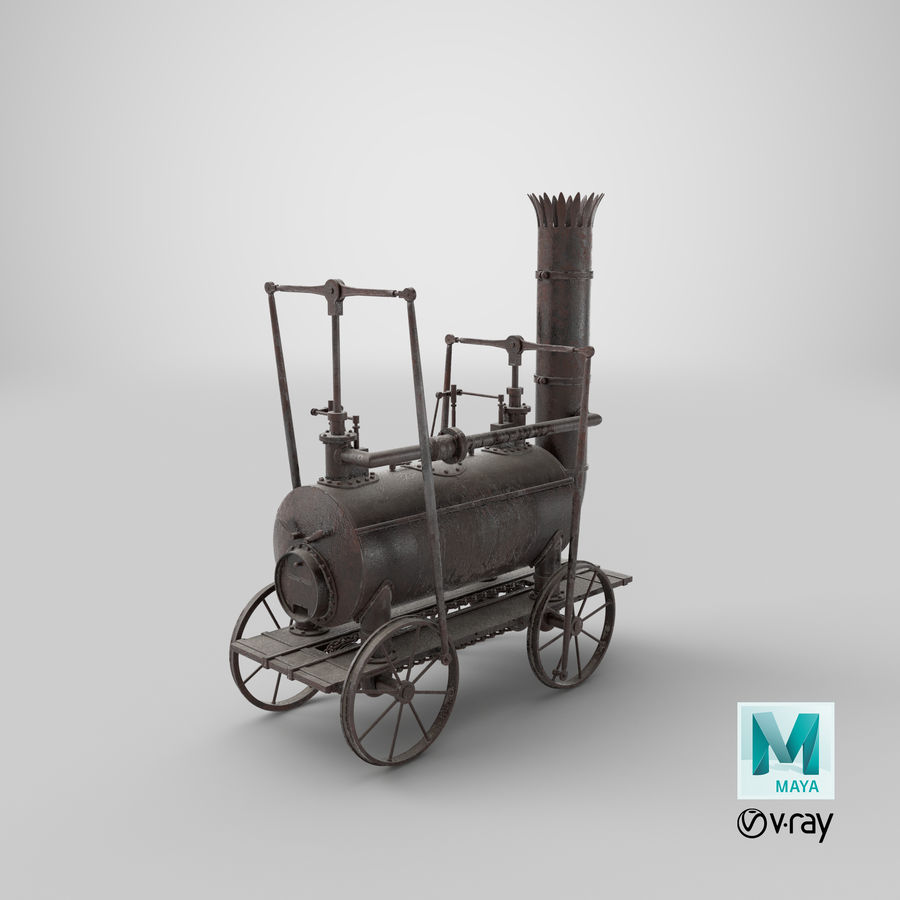 古い蒸気機関車 royalty-free 3d model - Preview no. 36