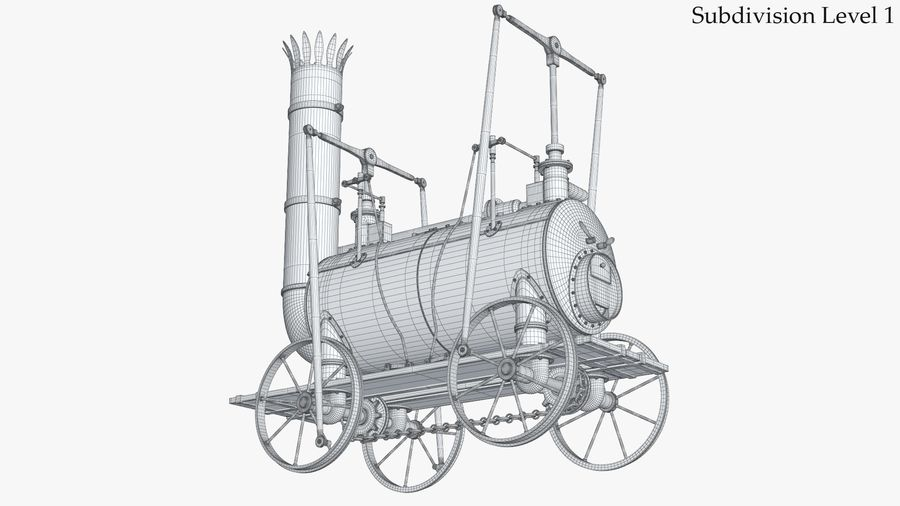 古い蒸気機関車 royalty-free 3d model - Preview no. 18