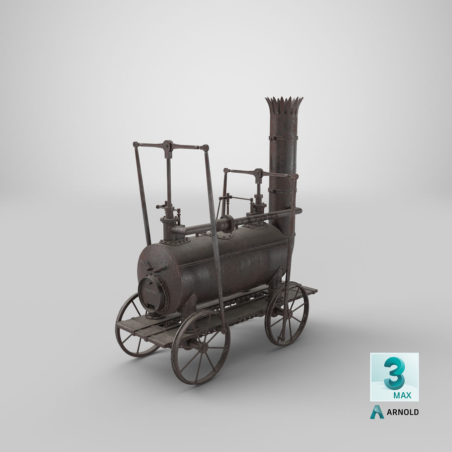 古い蒸気機関車 royalty-free 3d model - Preview no. 31
