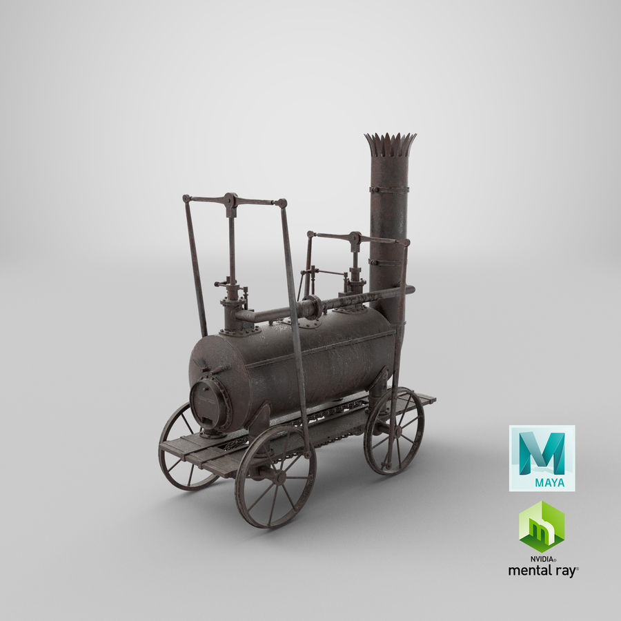 古い蒸気機関車 royalty-free 3d model - Preview no. 35