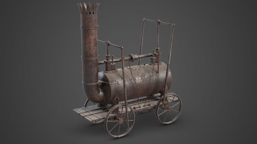 古い蒸気機関車 royalty-free 3d model - Preview no. 2
