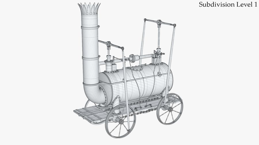 古い蒸気機関車 royalty-free 3d model - Preview no. 14