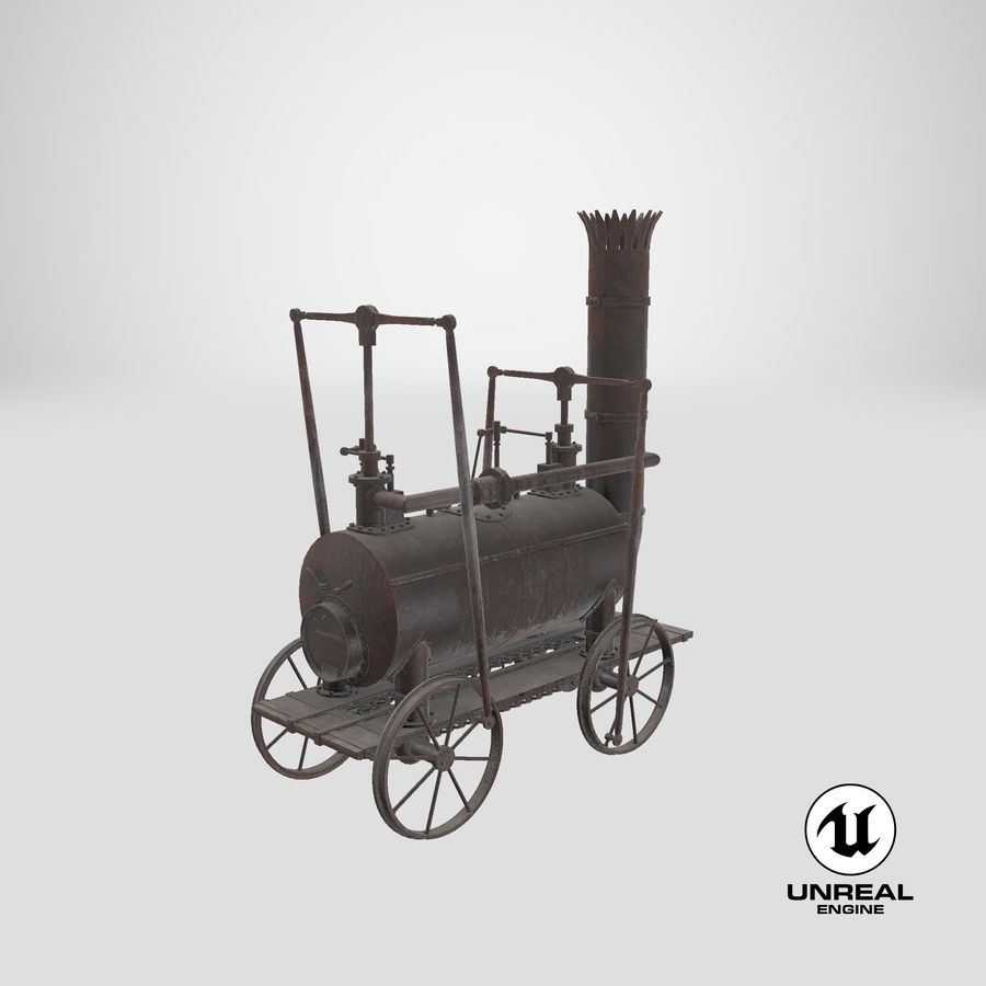 古い蒸気機関車 royalty-free 3d model - Preview no. 30