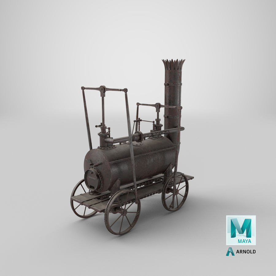 古い蒸気機関車 royalty-free 3d model - Preview no. 34