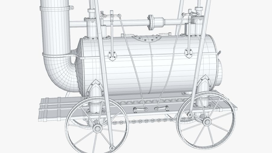 古い蒸気機関車 royalty-free 3d model - Preview no. 21