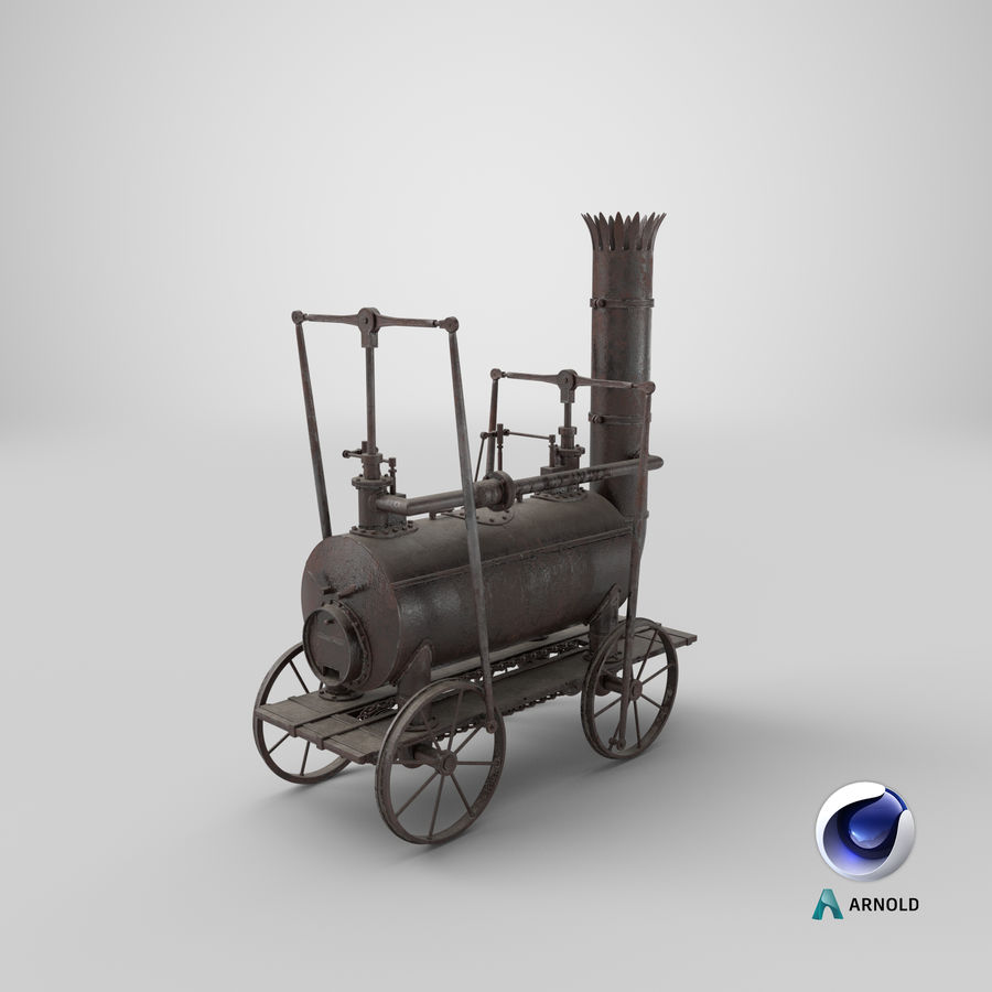 古い蒸気機関車 royalty-free 3d model - Preview no. 28