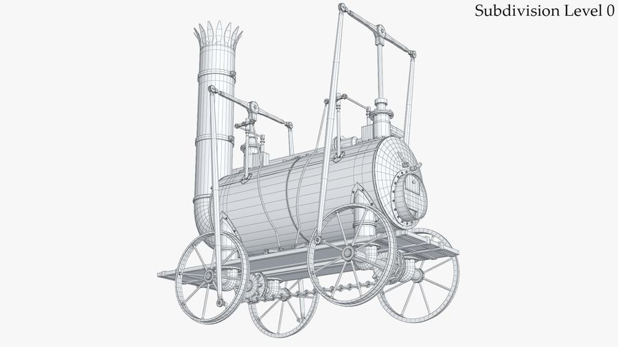 古い蒸気機関車 royalty-free 3d model - Preview no. 17