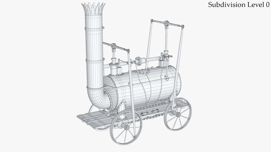 古い蒸気機関車 royalty-free 3d model - Preview no. 13