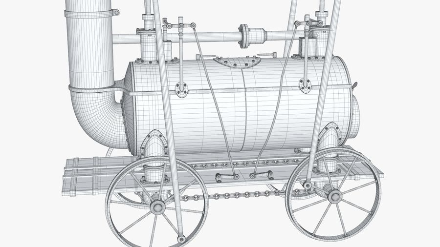 古い蒸気機関車 royalty-free 3d model - Preview no. 22
