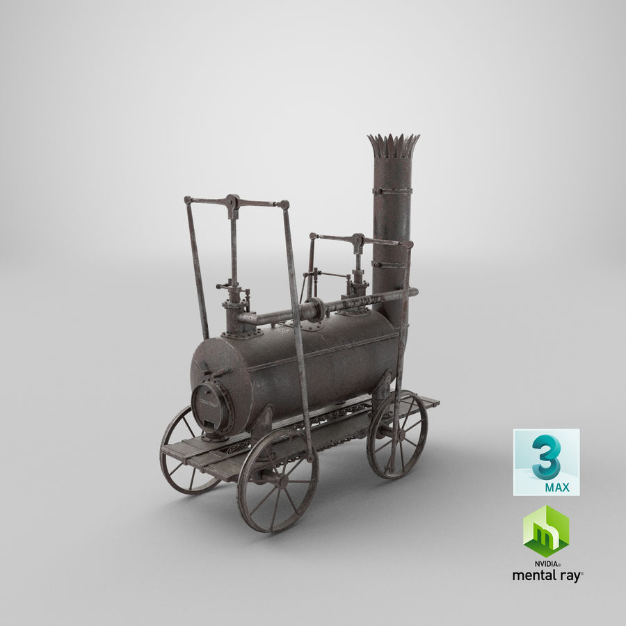 古い蒸気機関車 royalty-free 3d model - Preview no. 32