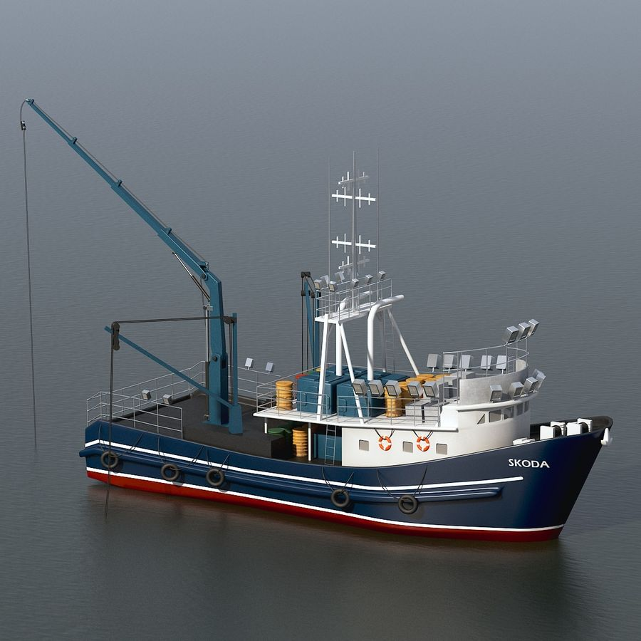 Fishing Boat royalty-free 3d model - Preview no. 10