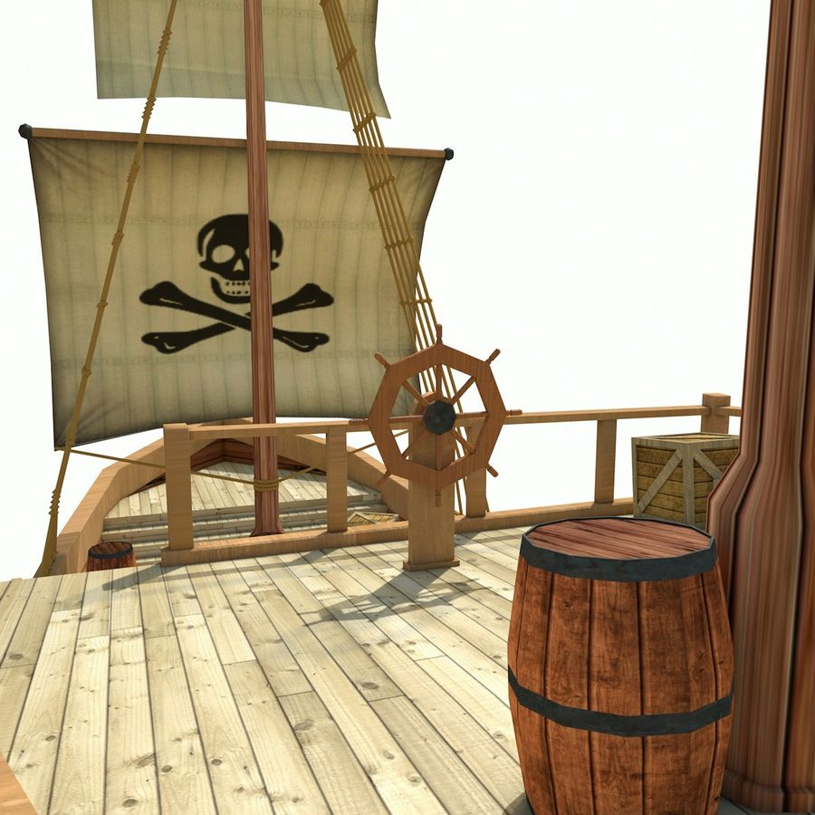 Niedriges Polykarikatur-Piratenschiff royalty-free 3d model - Preview no. 12