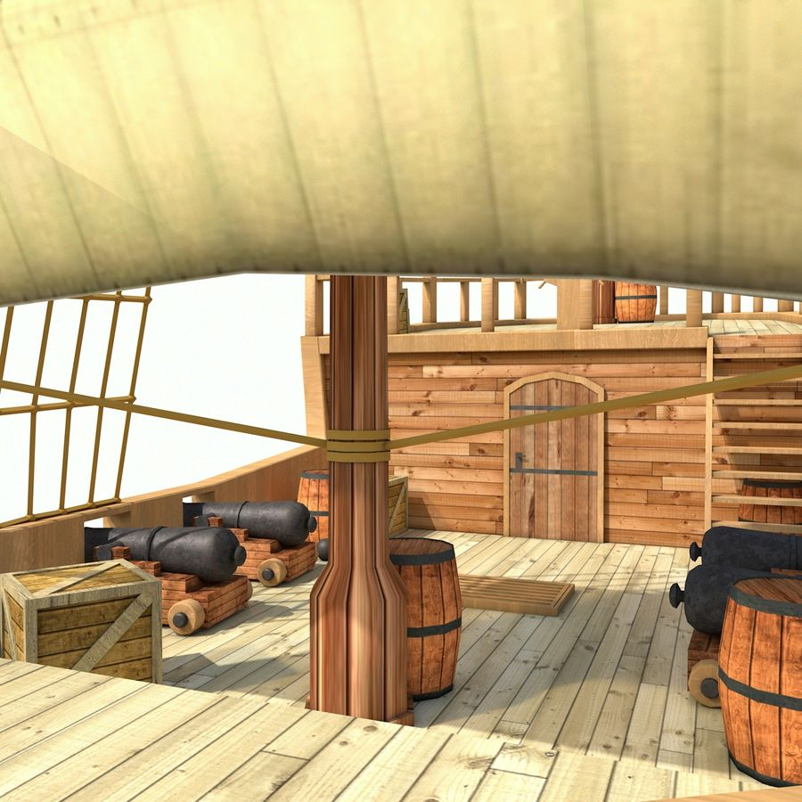 Niedriges Polykarikatur-Piratenschiff royalty-free 3d model - Preview no. 4