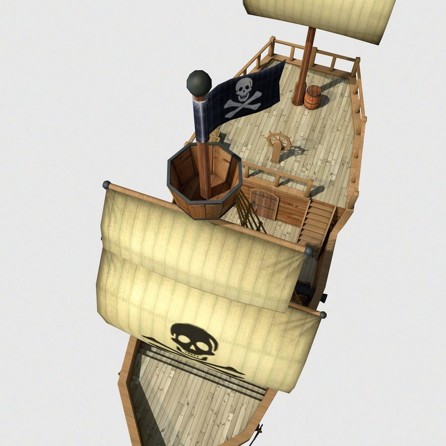Niedriges Polykarikatur-Piratenschiff royalty-free 3d model - Preview no. 10