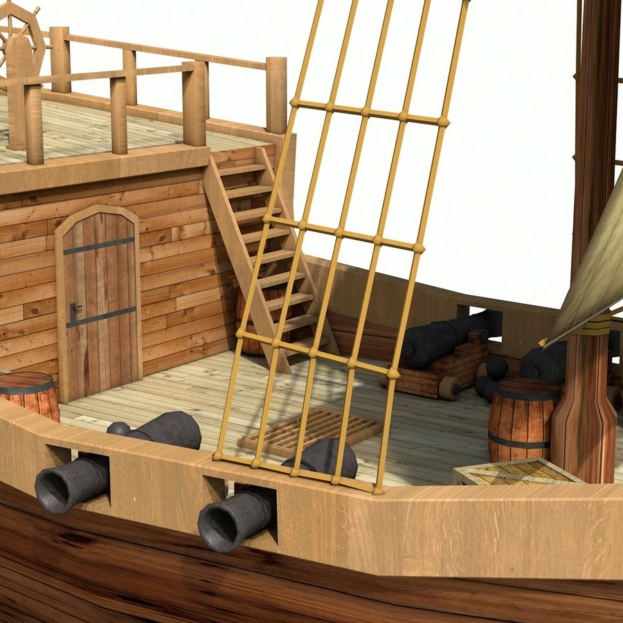 Niedriges Polykarikatur-Piratenschiff royalty-free 3d model - Preview no. 14