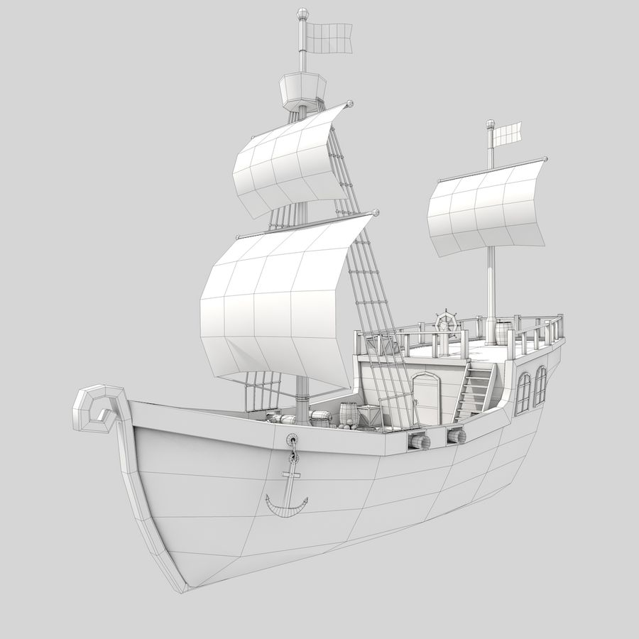 Niedriges Polykarikatur-Piratenschiff royalty-free 3d model - Preview no. 3