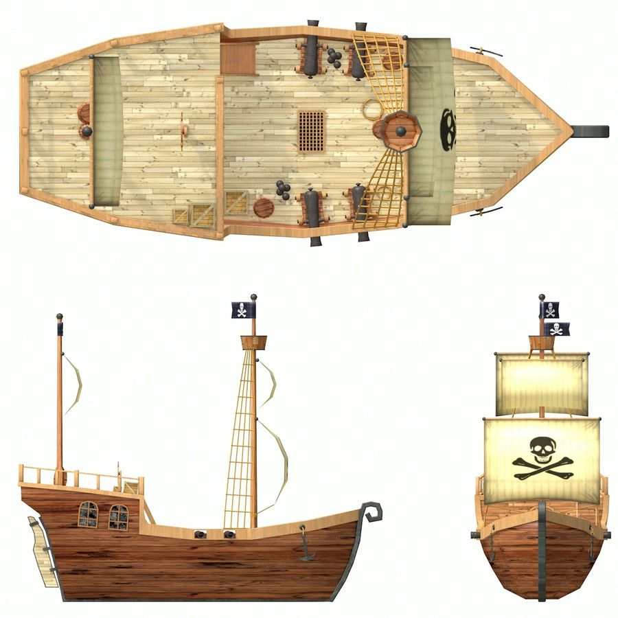 Niedriges Polykarikatur-Piratenschiff royalty-free 3d model - Preview no. 16