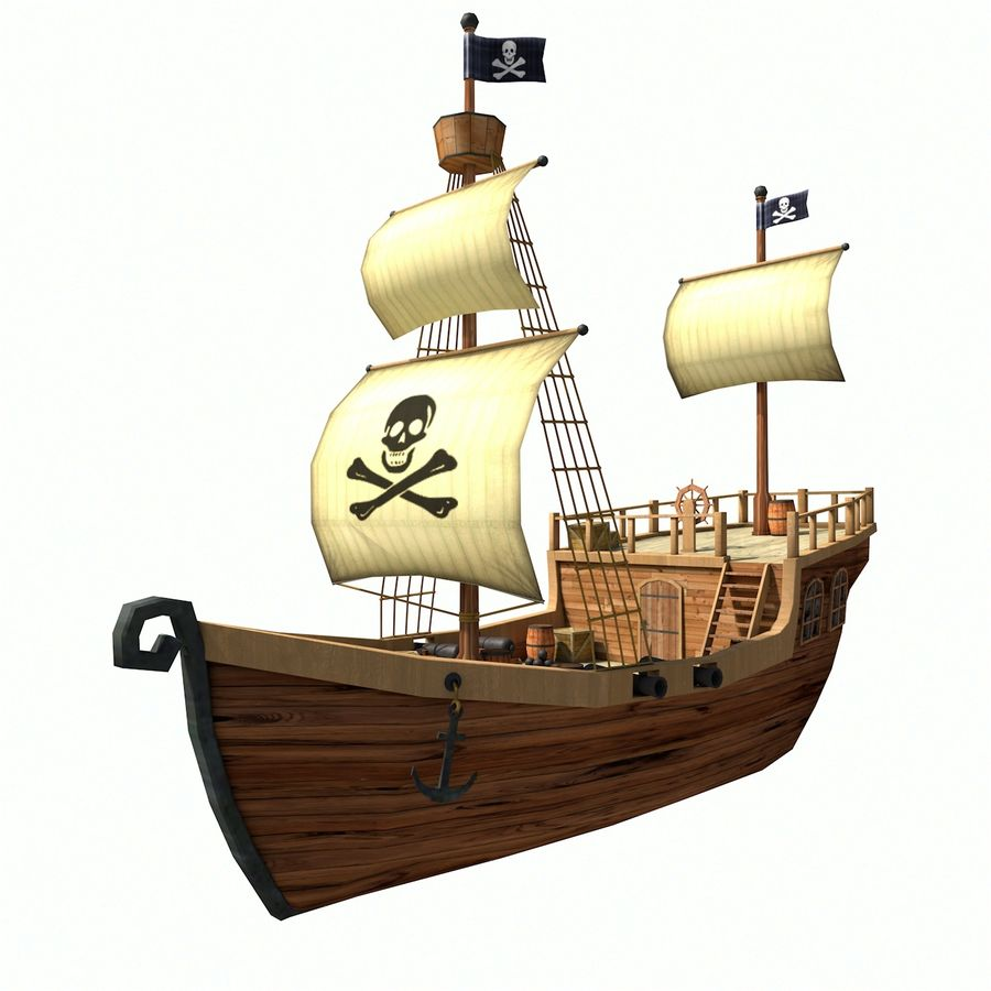Niedriges Polykarikatur-Piratenschiff royalty-free 3d model - Preview no. 2