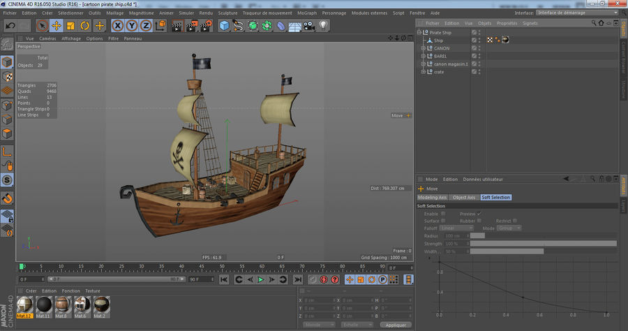 Niedriges Polykarikatur-Piratenschiff royalty-free 3d model - Preview no. 18