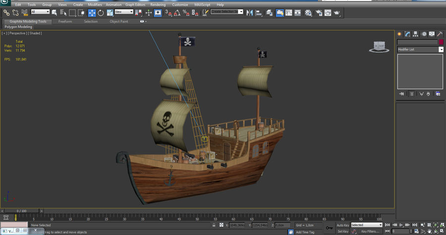 Niedriges Polykarikatur-Piratenschiff royalty-free 3d model - Preview no. 17
