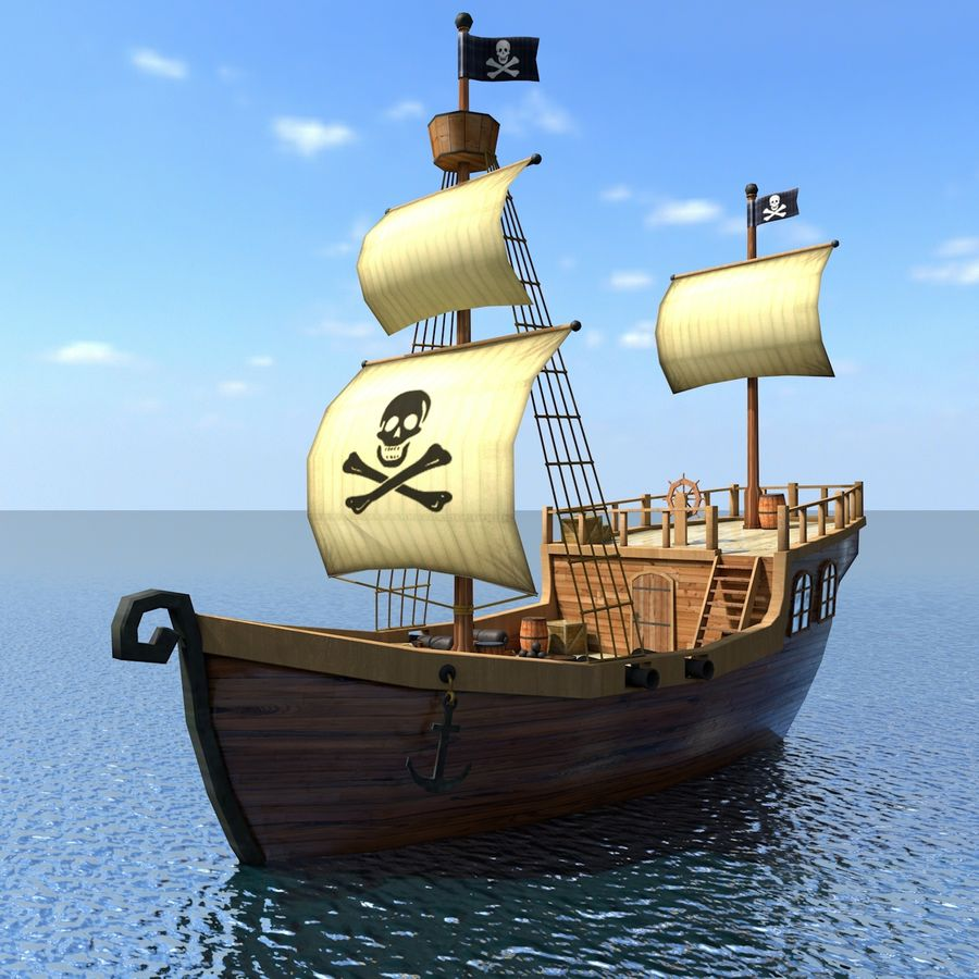 Niedriges Polykarikatur-Piratenschiff royalty-free 3d model - Preview no. 1