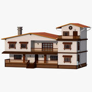 木製の家族の家 3d model