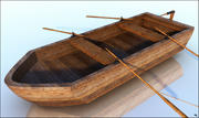 Barco a remo de madeira 3d model