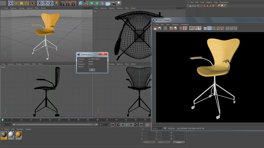 Computer Chair royalty-free 3d model - Preview no. 16