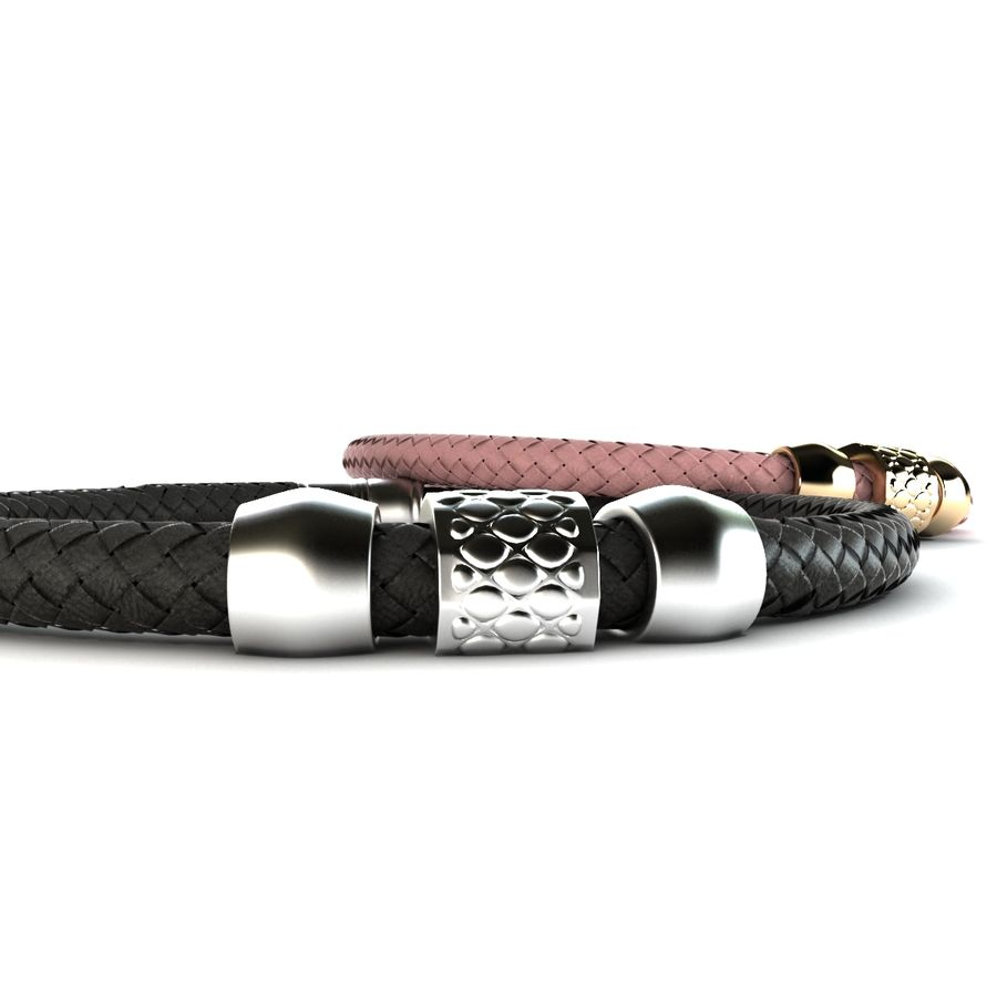 leather bracelet royalty-free 3d model - Preview no. 7