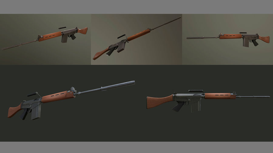 FN FAL royalty-free 3d model - Preview no. 4