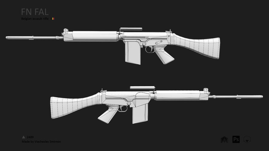 FN FAL royalty-free 3d model - Preview no. 3