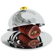 Roast beef on silver tray 3d model
