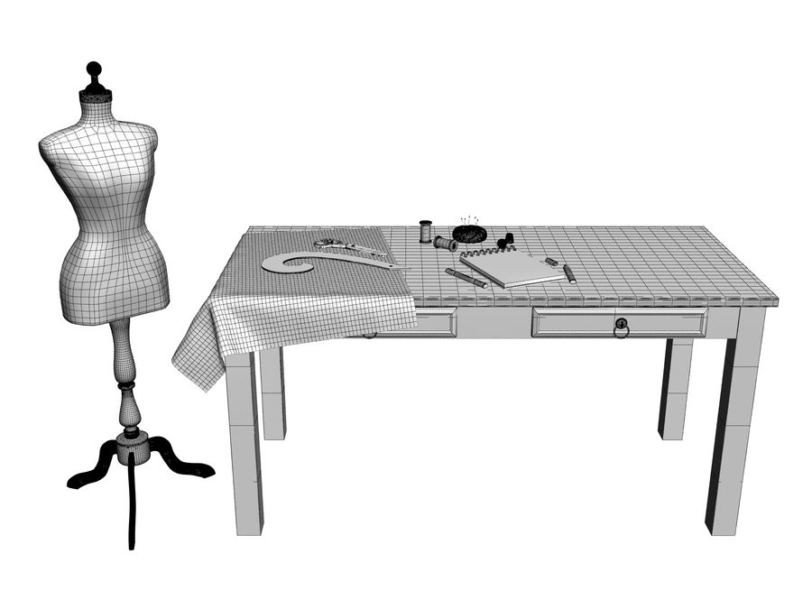 sewing set royalty-free 3d model - Preview no. 7