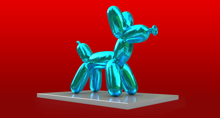 Jeff Koons Balloon Dog royalty-free 3d model - Preview no. 3