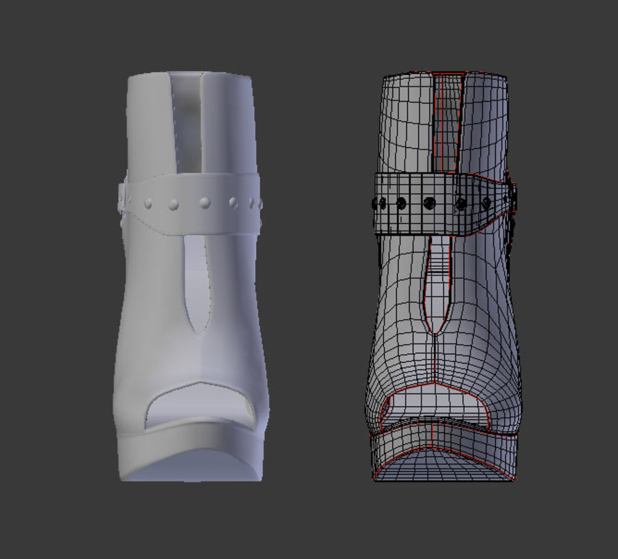 Leaver High Heels Shoes royalty-free 3d model - Preview no. 7