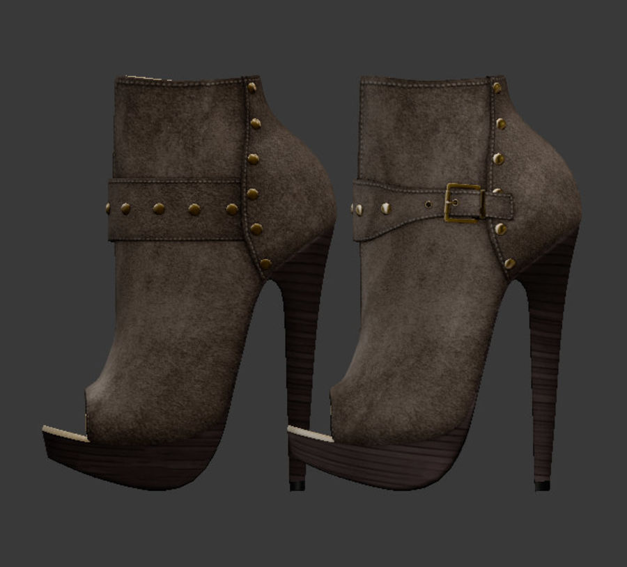 Leaver High Heels Shoes royalty-free 3d model - Preview no. 4