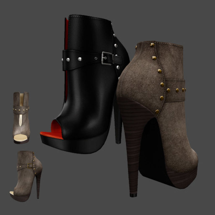 Leaver High Heels Shoes royalty-free 3d model - Preview no. 1