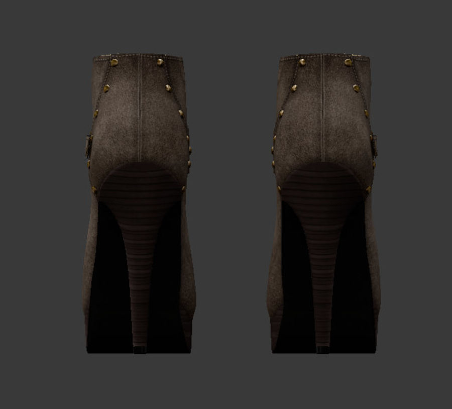 Leaver High Heels Shoes royalty-free 3d model - Preview no. 5
