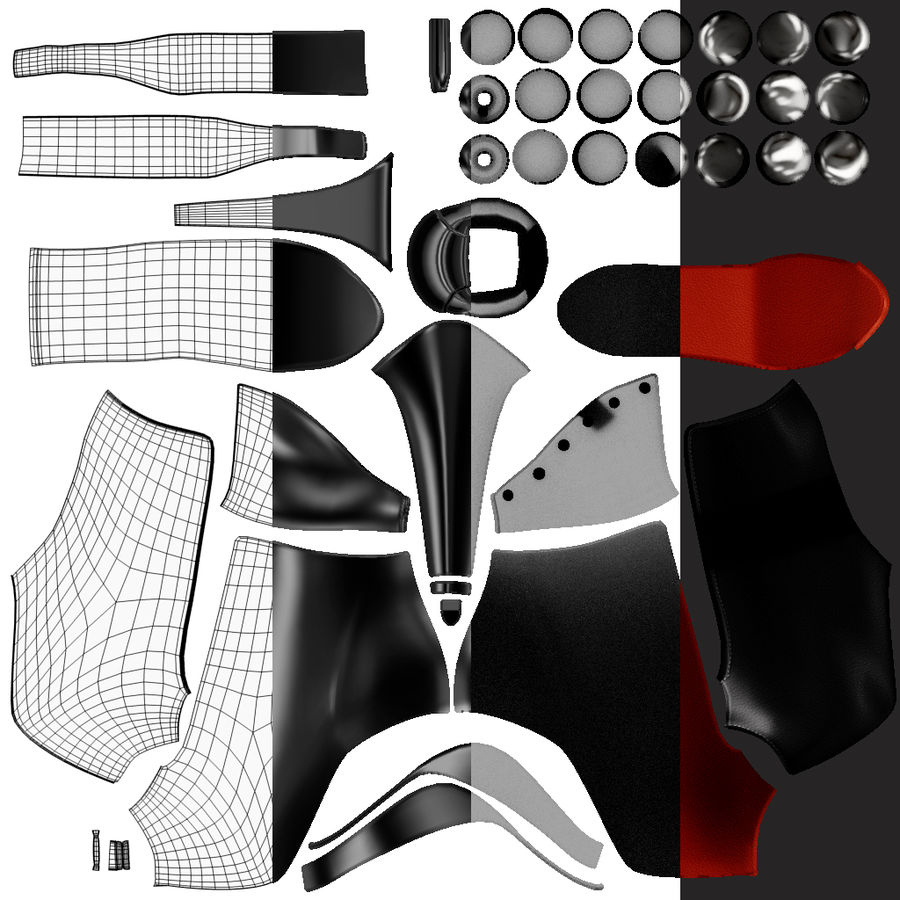 Leaver High Heels Shoes royalty-free 3d model - Preview no. 10