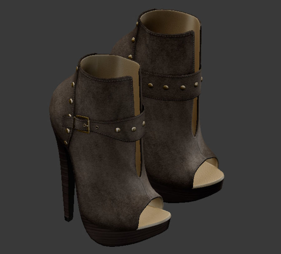 Leaver High Heels Shoes royalty-free 3d model - Preview no. 2