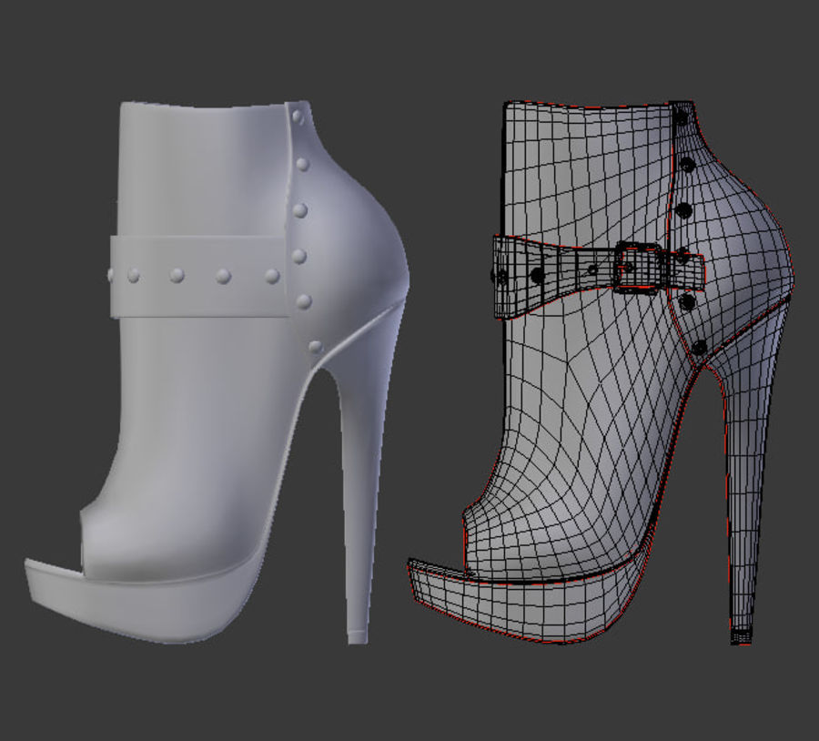 Leaver High Heels Shoes royalty-free 3d model - Preview no. 8