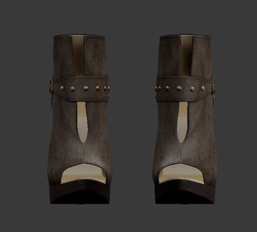 Leaver High Heels Shoes royalty-free 3d model - Preview no. 3
