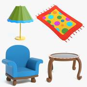 Мультфильм комплект мебели 2 3d model