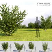 9つの高い茂み 3d model