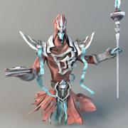 Düşük poli sihirbazı karakteri 3d model