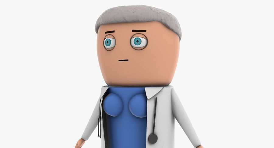 Cartoon Doctor Female royalty-free 3d model - Preview no. 9