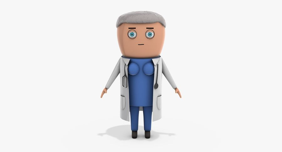 Cartoon Doctor Female royalty-free 3d model - Preview no. 7