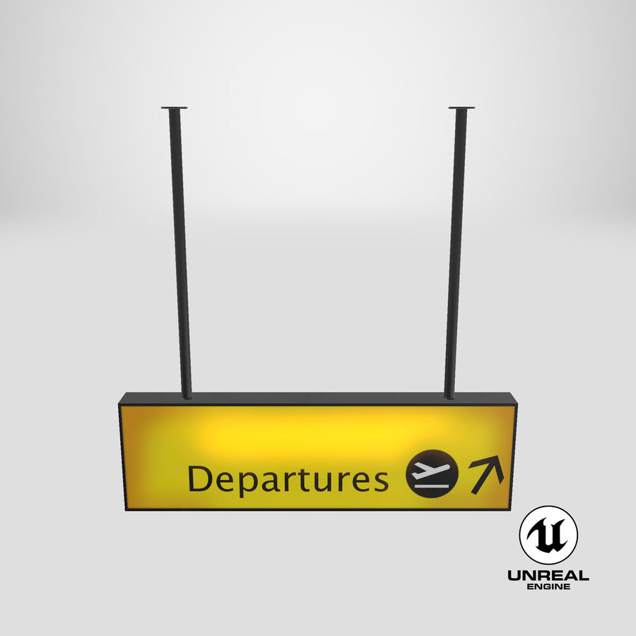 Luchthaven vertrek teken royalty-free 3d model - Preview no. 21