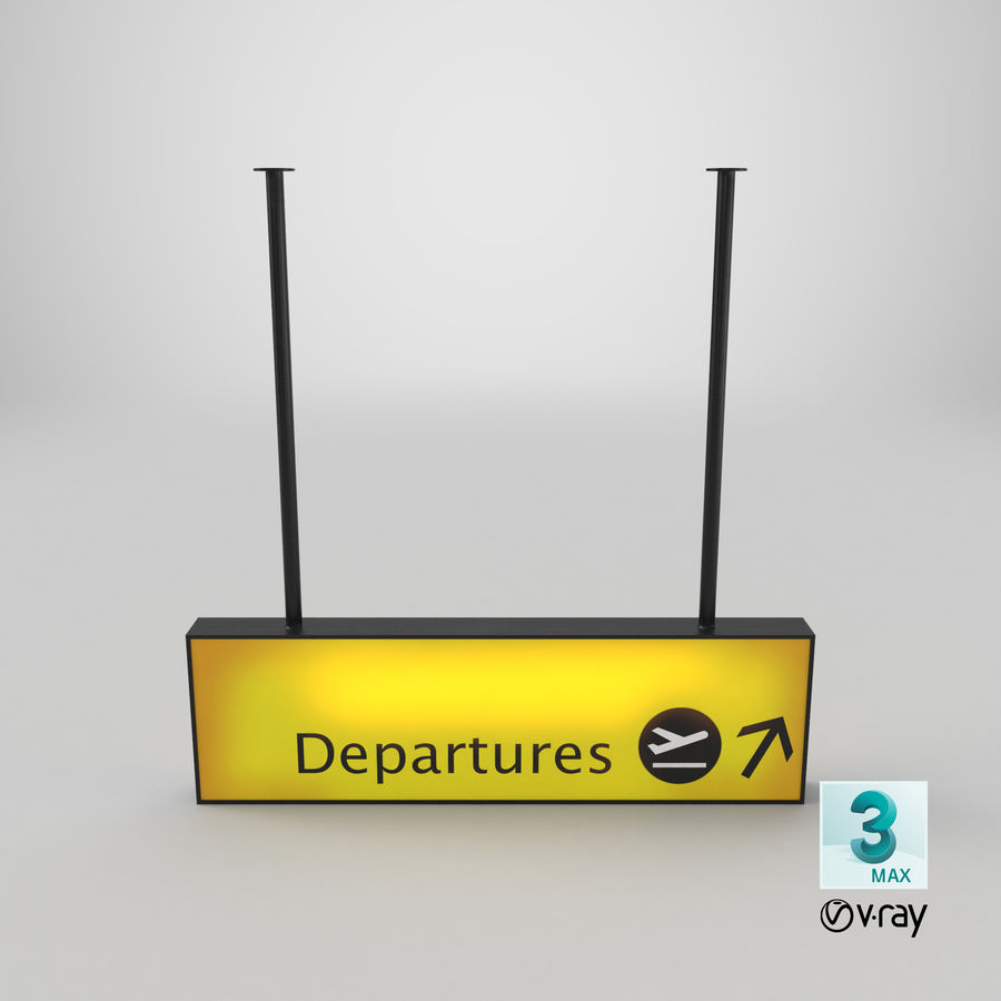 Luchthaven vertrek teken royalty-free 3d model - Preview no. 22