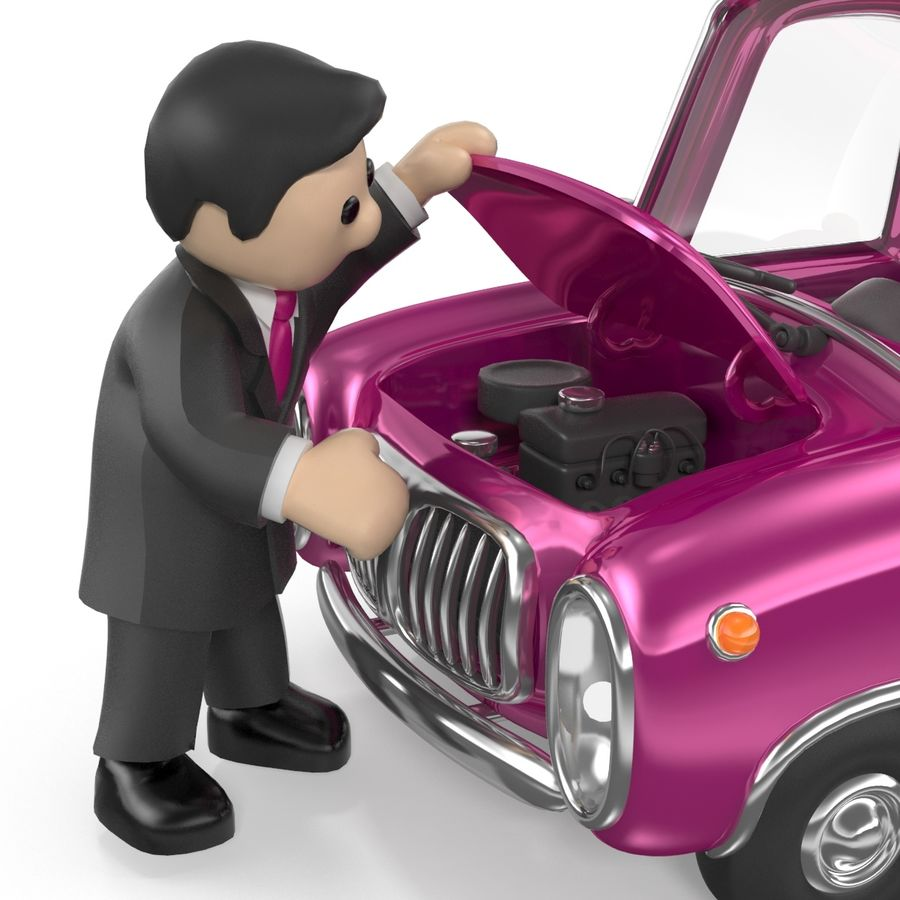 Cartoon samochód z kierowcą royalty-free 3d model - Preview no. 16